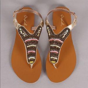 NWOT Qupid Beaded Embellished T Strap Flat Sandals